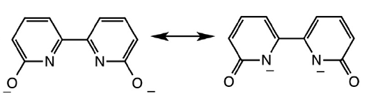 Two resonance forms for dhbp are shown