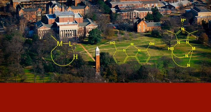 Molecules that the Papish group uses are shown on the background of the UA quad